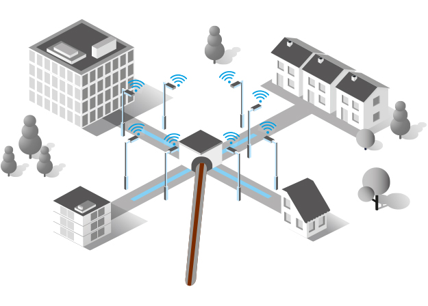 Straßenleuchten an der Ortszentrale als letzte Meile Brückentechnologie zum Breitbandausbau