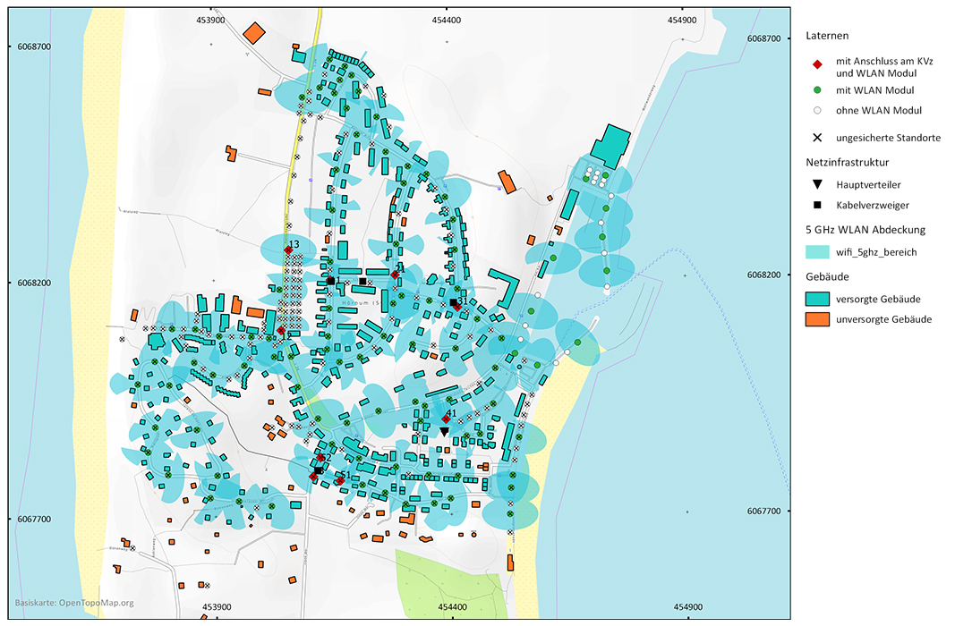 Schematische Darstellung der Stadt Hörnum mit energiedata 4.0 Laternen